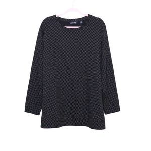 LANDS' END Micro Polka Dot Quilted Sweatshirt 2X